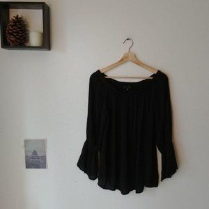 Anthropologie Black Off The Shoulder Blouse